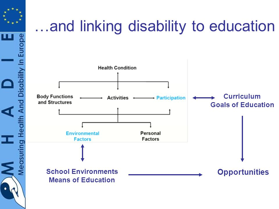 …and linking disability to education School Environments Means of Education Curriculum Goals of Education Opportunities