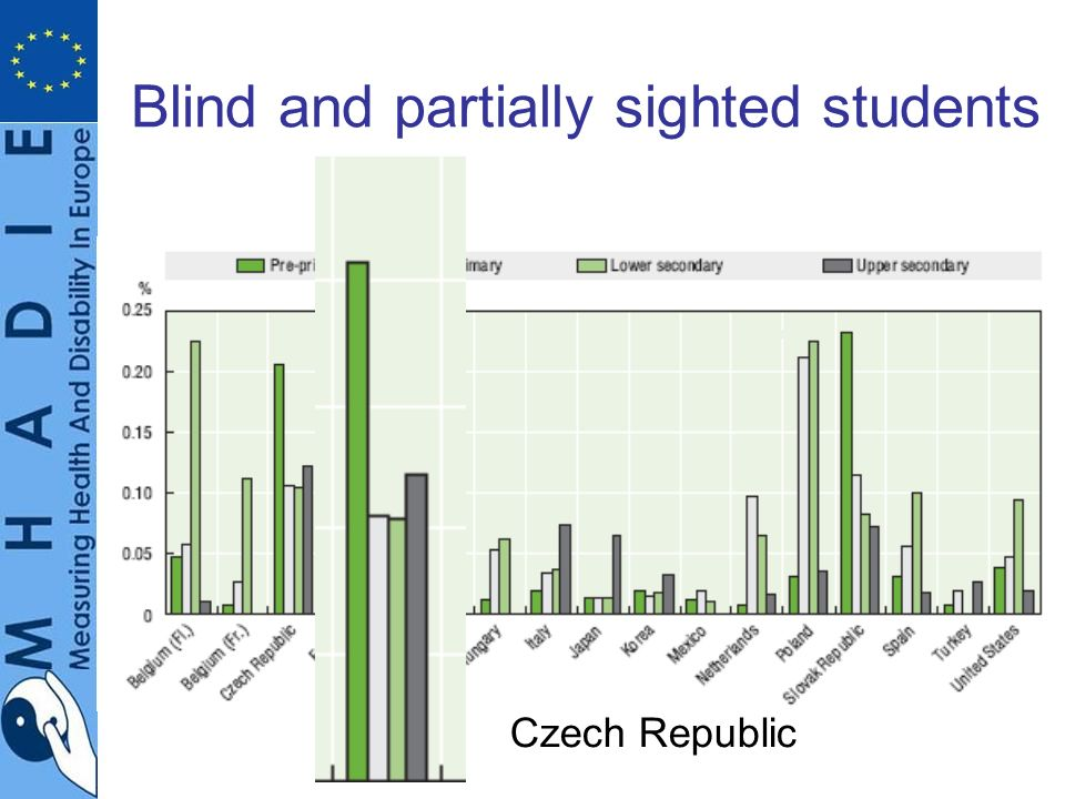 Blind and partially sighted students Czech Republic