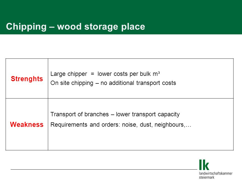 Chipping – wood storage place Strenghts Large chipper = lower costs per bulk m³ On site chipping – no additional transport costs Weakness Transport of branches – lower transport capacity Requirements and orders: noise, dust, neighbours,…