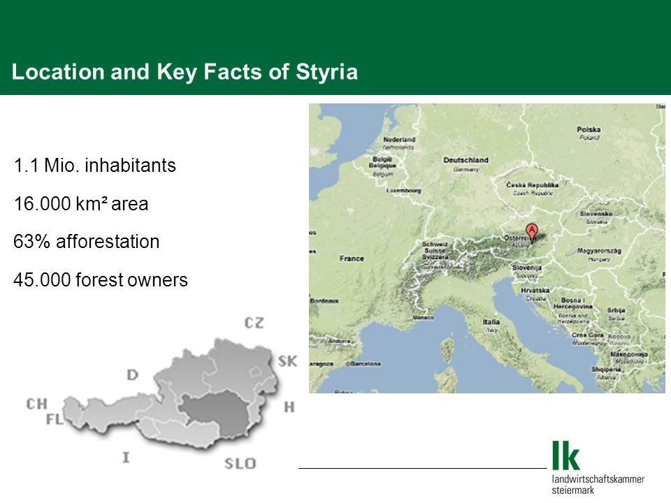 Location and Key Facts of Styria 1.1 Mio.
