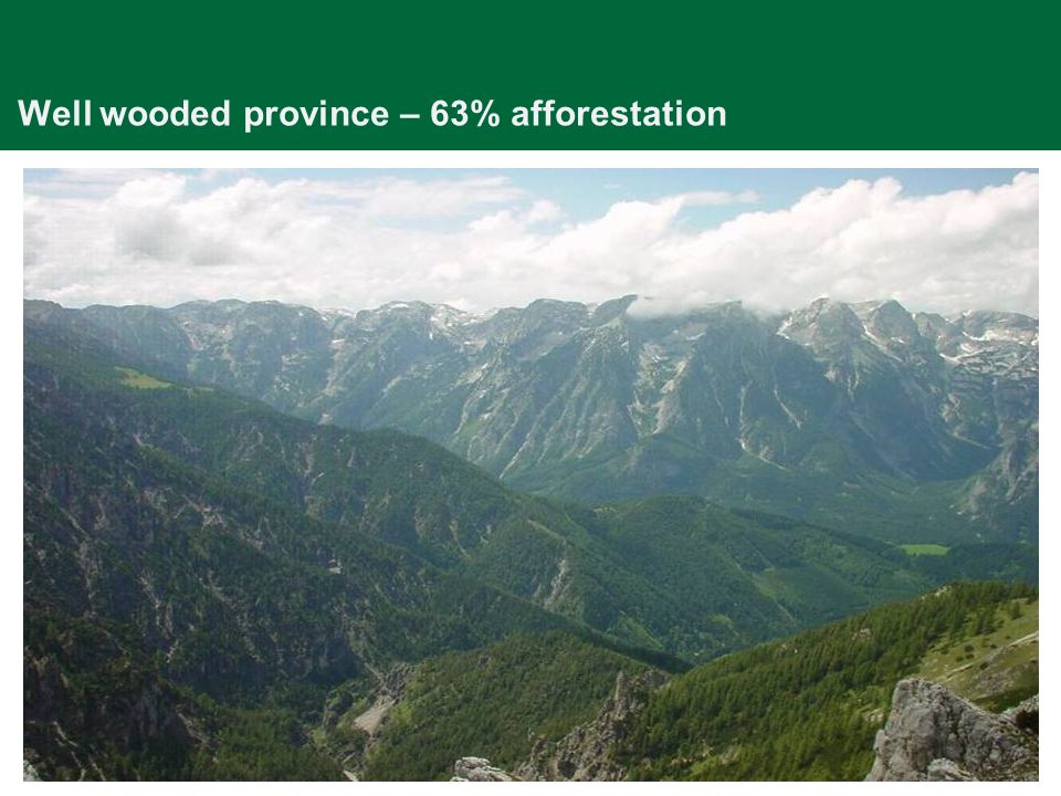 Well wooded province – 63% afforestation