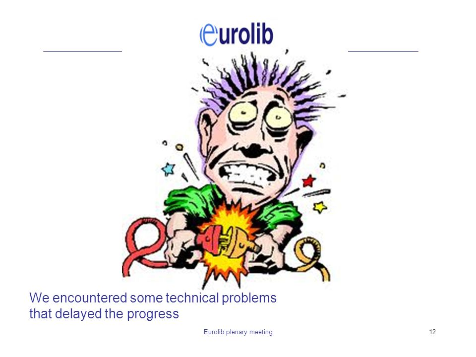 Eurolib plenary meeting12 We encountered some technical problems that delayed the progress