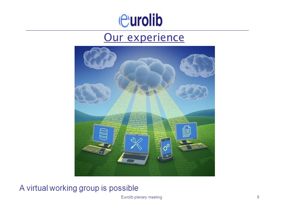 Eurolib plenary meeting9 Our experience A virtual working group is possible