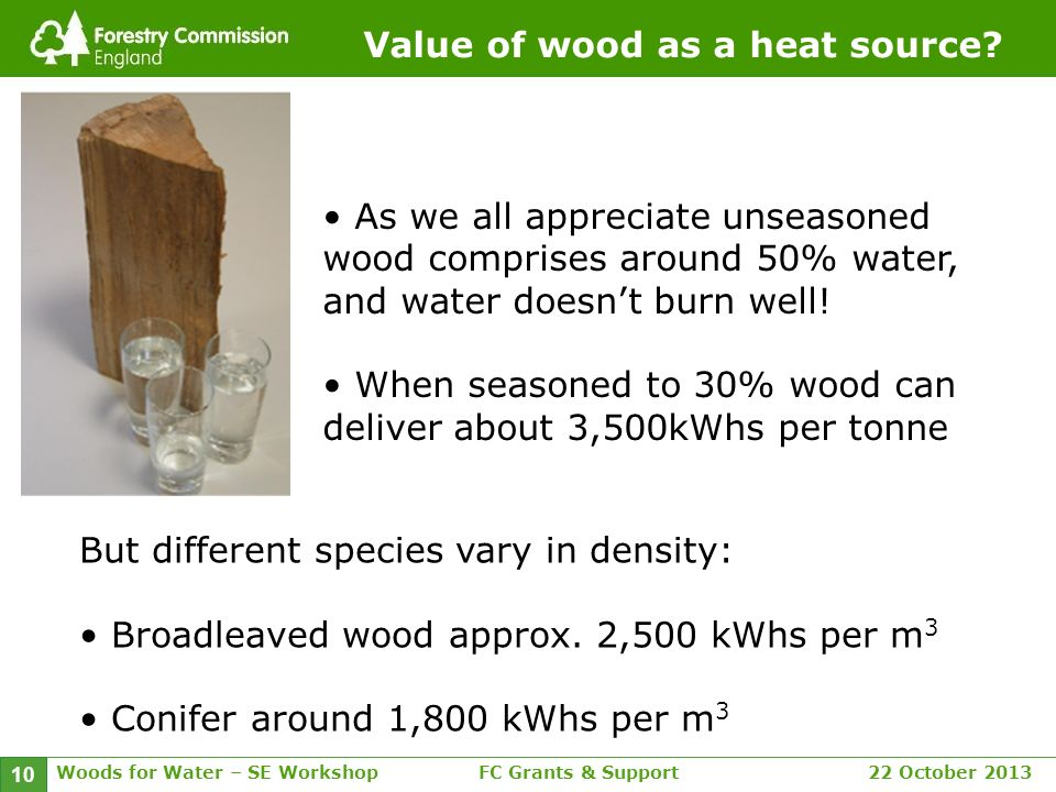 Woods for Water – SE WorkshopFC Grants & Support 22 October 2013 10 Value of wood as a heat source.
