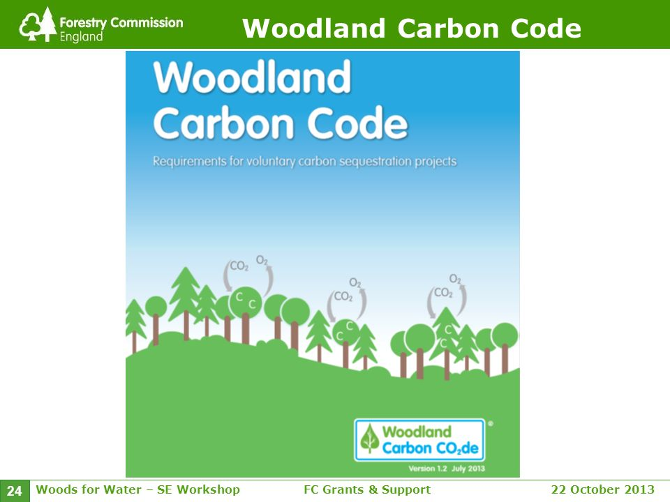 Woods for Water – SE WorkshopFC Grants & Support 22 October 2013 24 Woodland Carbon Code