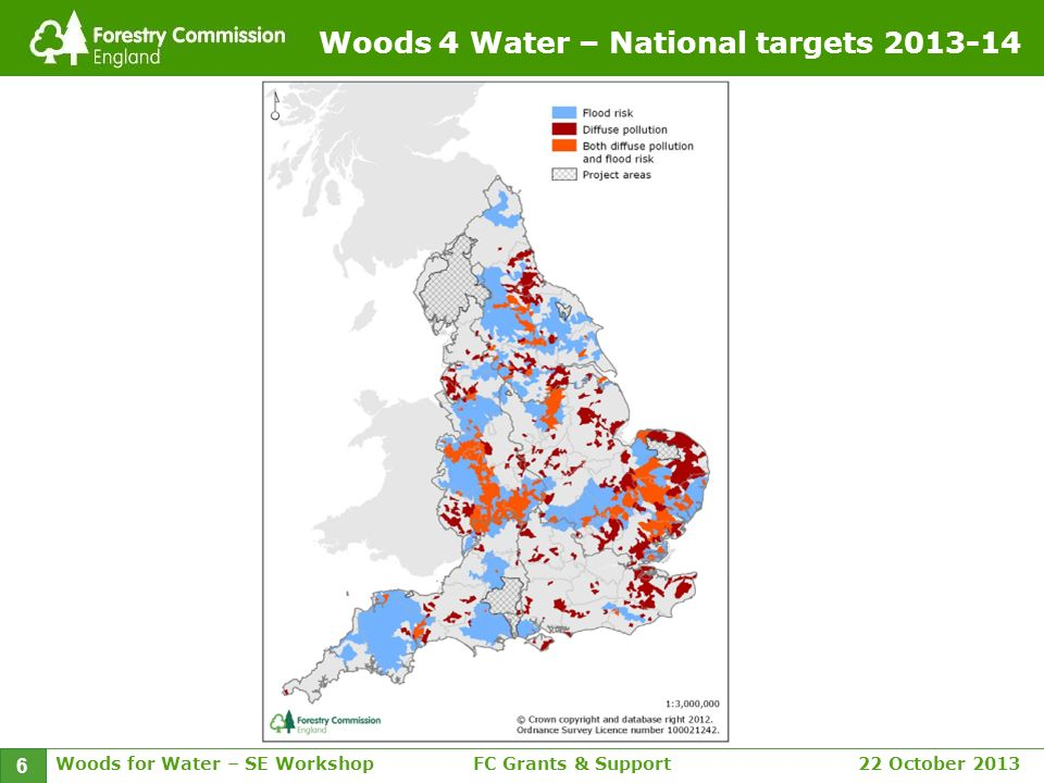Woods for Water – SE WorkshopFC Grants & Support 22 October 2013 6 Woods 4 Water – National targets 2013-14