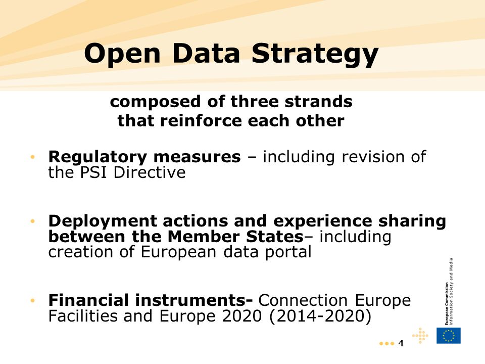 4 Open Data Strategy composed of three strands that reinforce each other Regulatory measures – including revision of the PSI Directive Deployment actions and experience sharing between the Member States– including creation of European data portal Financial instruments- Connection Europe Facilities and Europe 2020 ( )