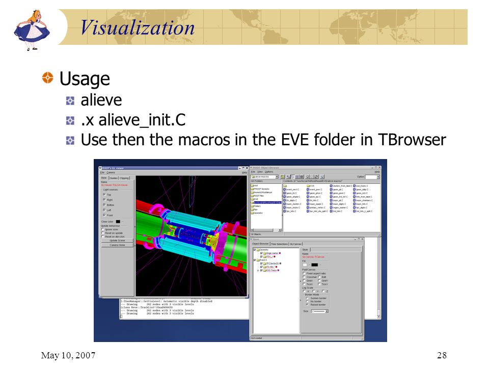May 10, 200728 Visualization Usage alieve.x alieve_init.C Use then the macros in the EVE folder in TBrowser