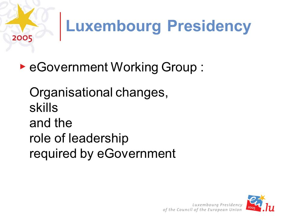 Luxembourg Presidency eGovernment Working Group : Organisational changes, skills and the role of leadership required by eGovernment