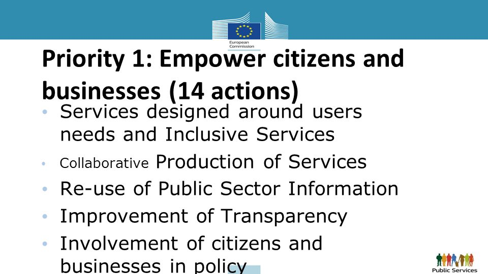 Priority 1: Empower citizens and businesses (14 actions) Services designed around users needs and Inclusive Services Collaborative Production of Services Re-use of Public Sector Information Improvement of Transparency Involvement of citizens and businesses in policy