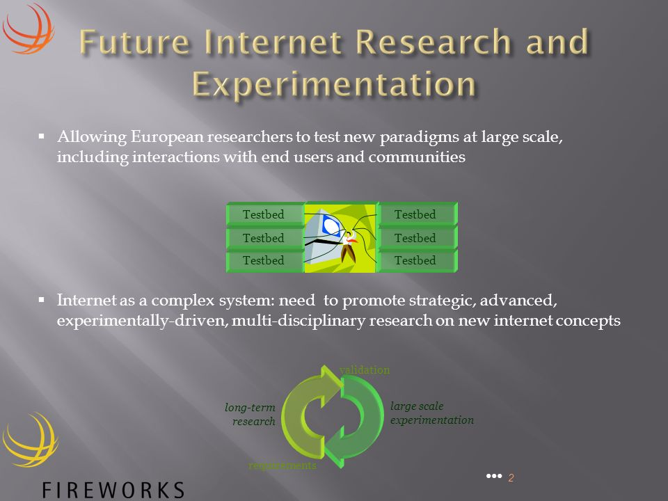 2 Allowing European researchers to test new paradigms at large scale, including interactions with end users and communities Testbed Internet as a complex system: need to promote strategic, advanced, experimentally-driven, multi-disciplinary research on new internet concepts requirements validation long-term research large scale experimentation