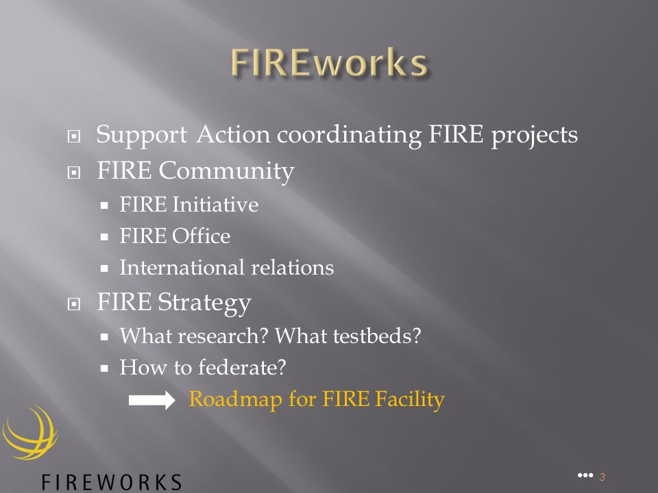 Support Action coordinating FIRE projects FIRE Community FIRE Initiative FIRE Office International relations FIRE Strategy What research.