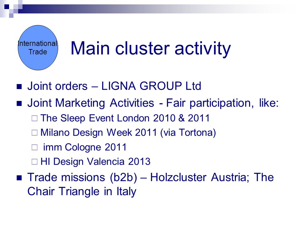 International Trade Main cluster activity Joint orders – LIGNA GROUP Ltd Joint Marketing Activities - Fair participation, like: The Sleep Event London 2010 & 2011 Milano Design Week 2011 (via Tortona) imm Cologne 2011 HI Design Valencia 2013 Trade missions (b2b) – Holzcluster Austria; The Chair Triangle in Italy