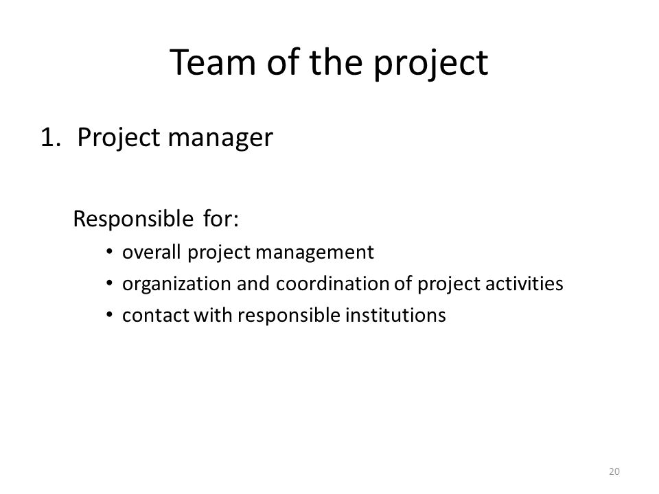 Team of the project 1.Project manager Responsible for: overall project management organization and coordination of project activities contact with responsible institutions 20