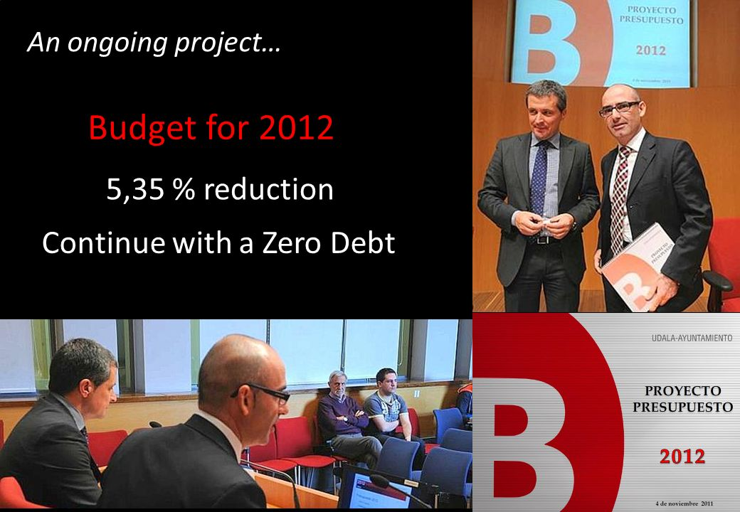 An ongoing project… 5,35 % reduction Continue with a Zero Debt Budget for 2012