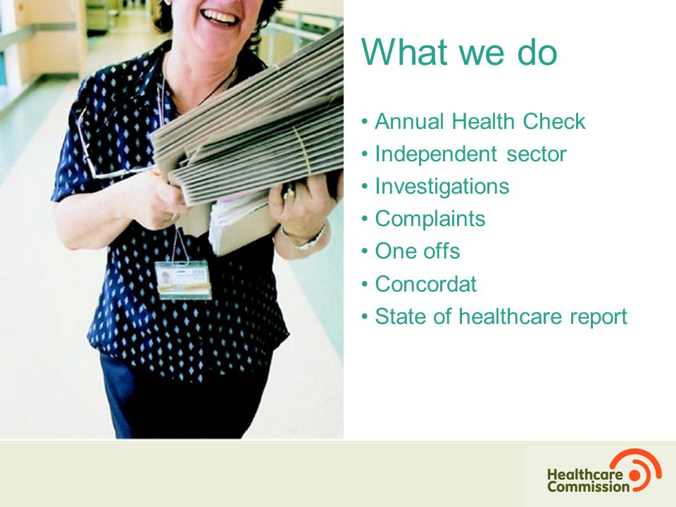 Annual Health Check Independent sector Investigations Complaints One offs Concordat State of healthcare report What we do