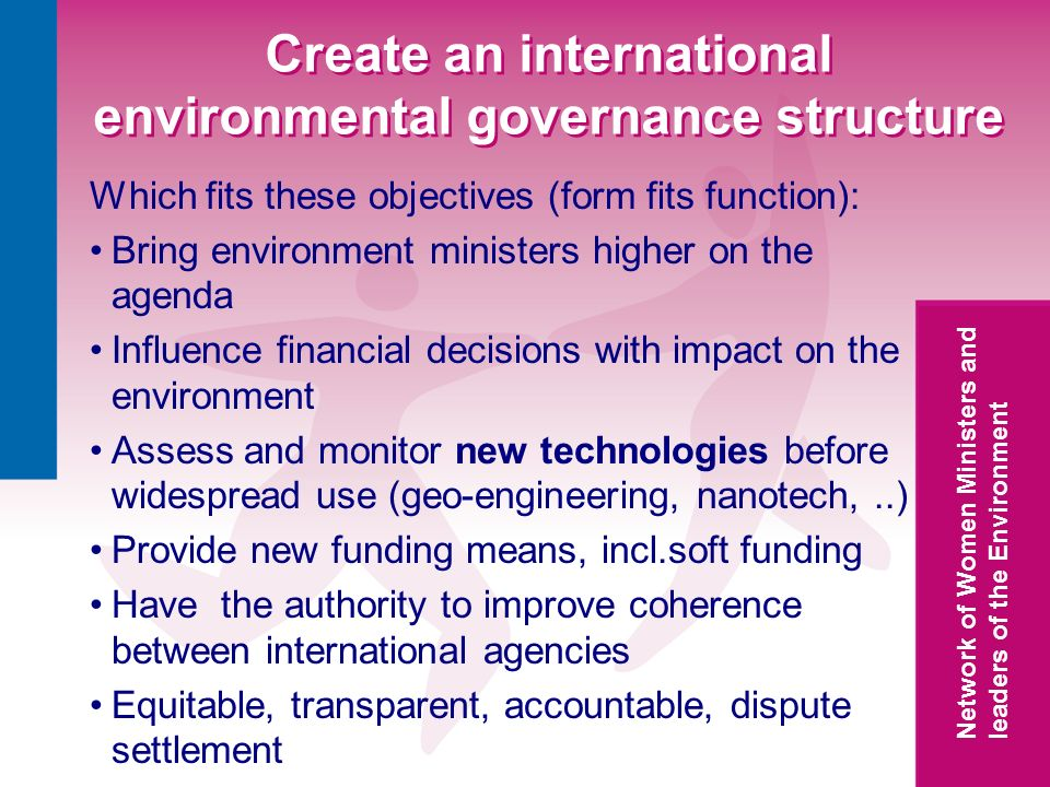 Network of Women Ministers and leaders of the Environment Create an international environmental governance structure Which fits these objectives (form fits function): Bring environment ministers higher on the agenda Influence financial decisions with impact on the environment Assess and monitor new technologies before widespread use (geo-engineering, nanotech,..) Provide new funding means, incl.soft funding Have the authority to improve coherence between international agencies Equitable, transparent, accountable, dispute settlement