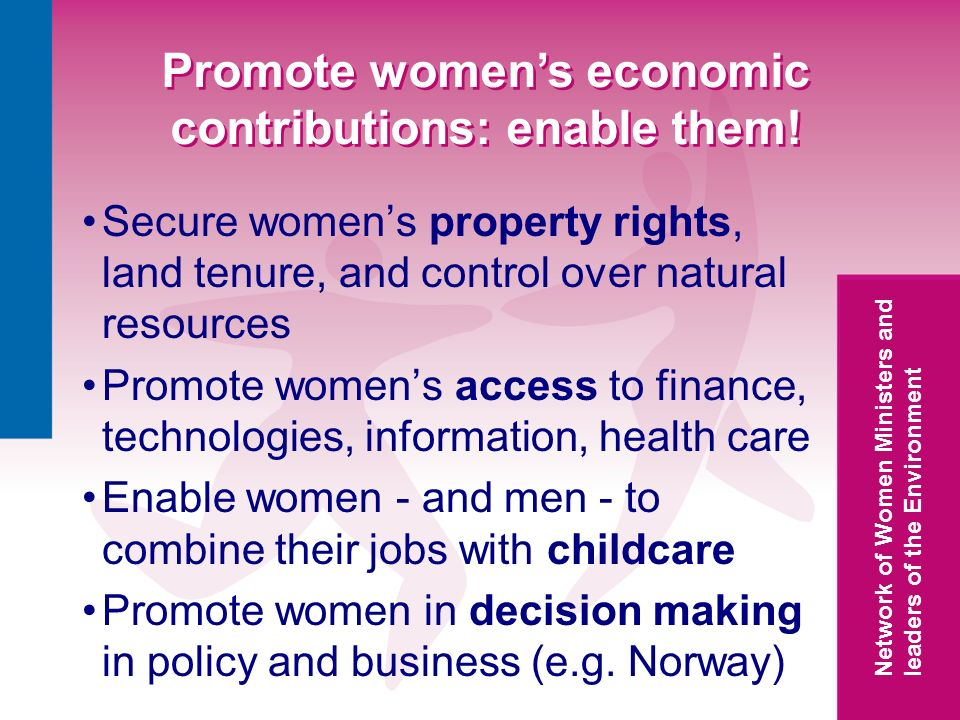 Network of Women Ministers and leaders of the Environment Promote womens economic contributions: enable them.