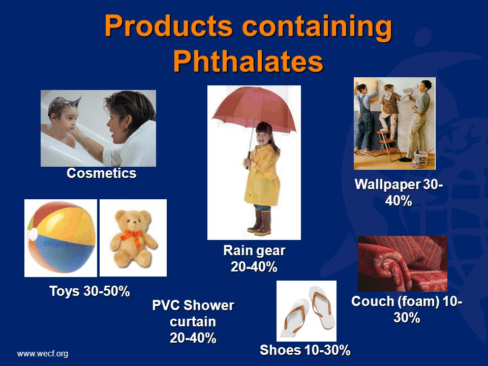 www.wecf.org Toys 30-50% Couch (foam) 10- 30% PVC Shower curtain 20-40% Shoes 10-30% Wallpaper 30- 40% Rain gear 20-40% Products containing Phthalates Cosmetics