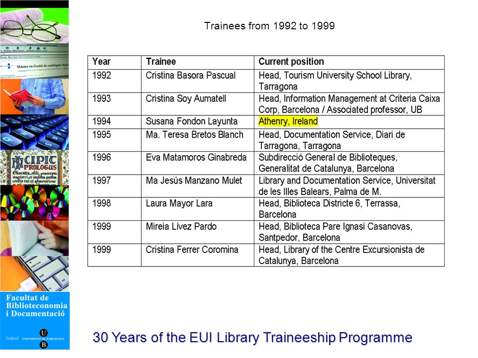30 Years of the EUI Library Traineeship Programme Poster of advertising the traineeship