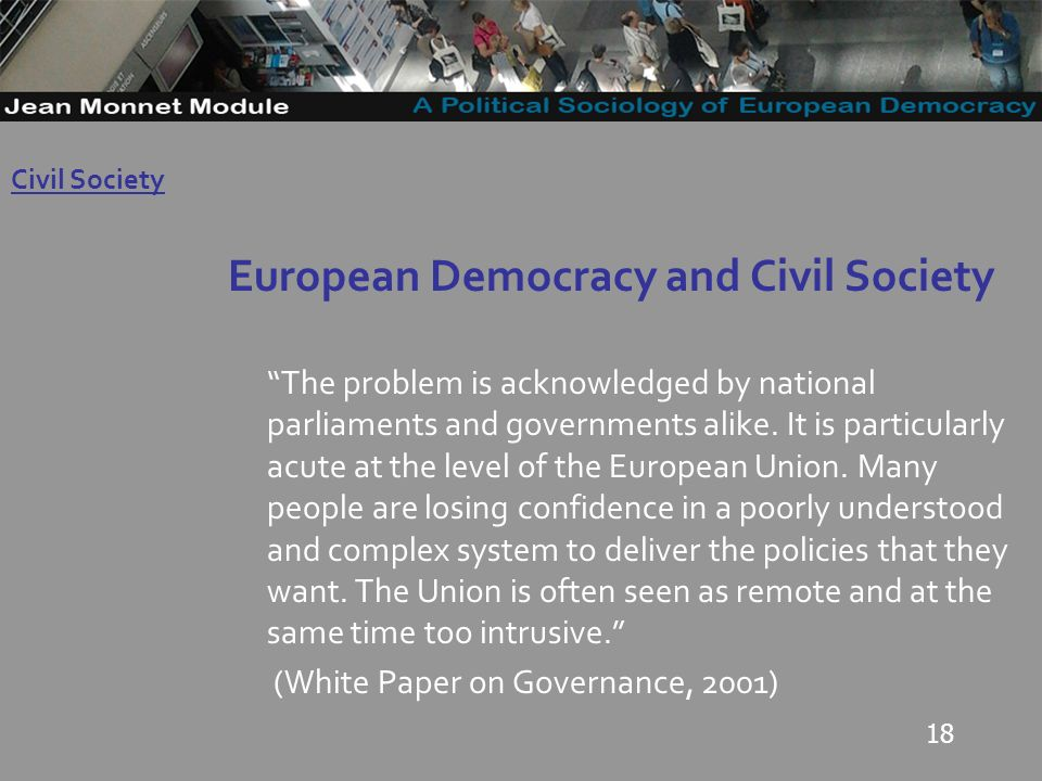 18 European Democracy and Civil Society The problem is acknowledged by national parliaments and governments alike.