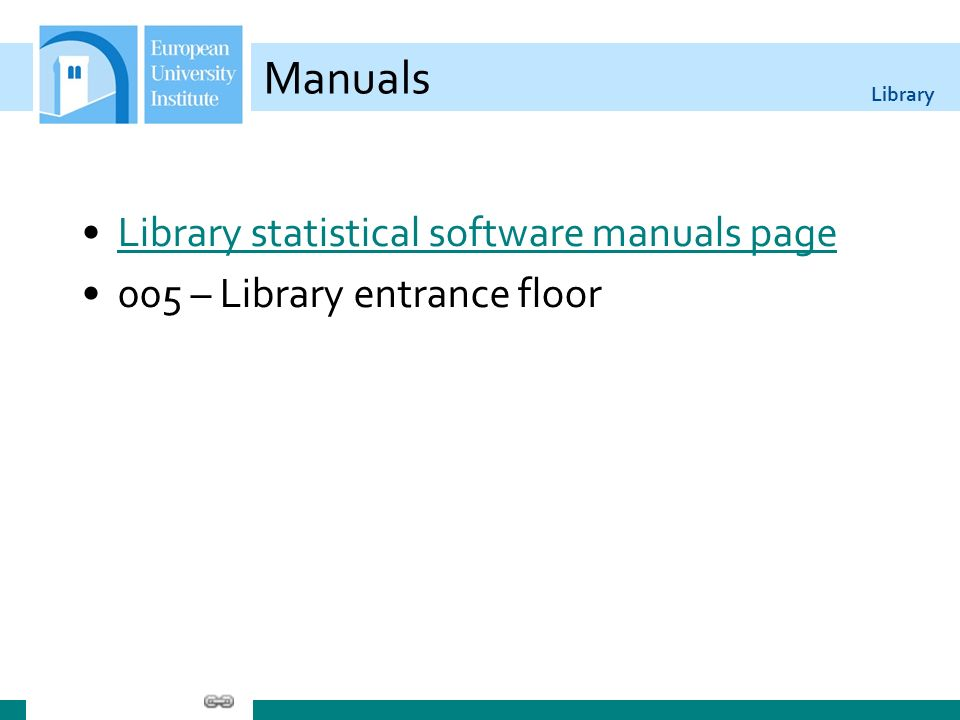 Library Manuals Library statistical software manuals page 005 – Library entrance floor