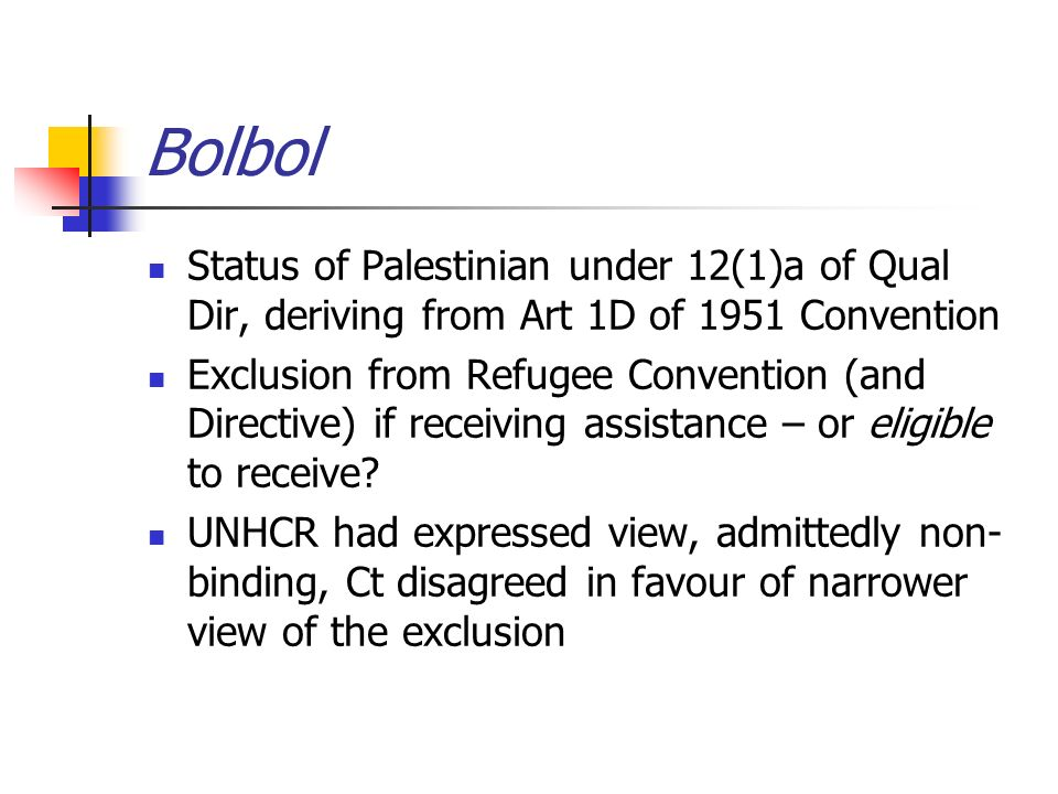 Bolbol Status of Palestinian under 12(1)a of Qual Dir, deriving from Art 1D of 1951 Convention Exclusion from Refugee Convention (and Directive) if receiving assistance – or eligible to receive.