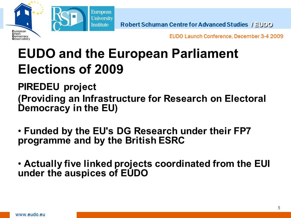 / EUDO Robert Schuman Centre for Advanced Studies / EUDO www.eudo.eu EUDO Launch Conference, December 3-4 2009 5 EUDO and the European Parliament Elections of 2009 PIREDEU project (Providing an Infrastructure for Research on Electoral Democracy in the EU) Funded by the EU s DG Research under their FP7 programme and by the British ESRC Actually five linked projects coordinated from the EUI under the auspices of EUDO