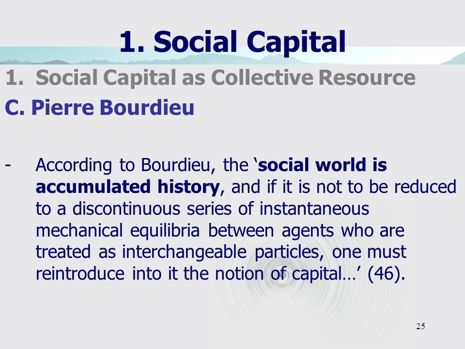 25 1. Social Capital 1.Social Capital as Collective Resource C.