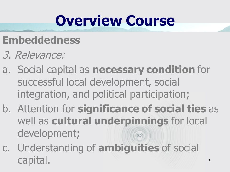 3 Overview Course Embeddedness 3.