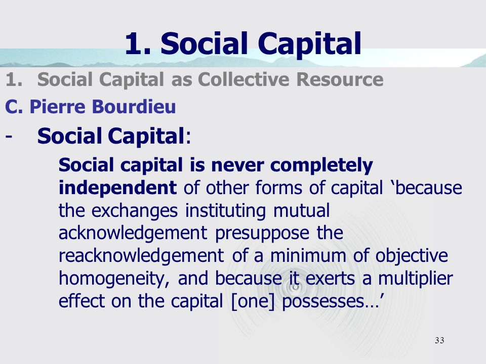 33 1. Social Capital 1.Social Capital as Collective Resource C.