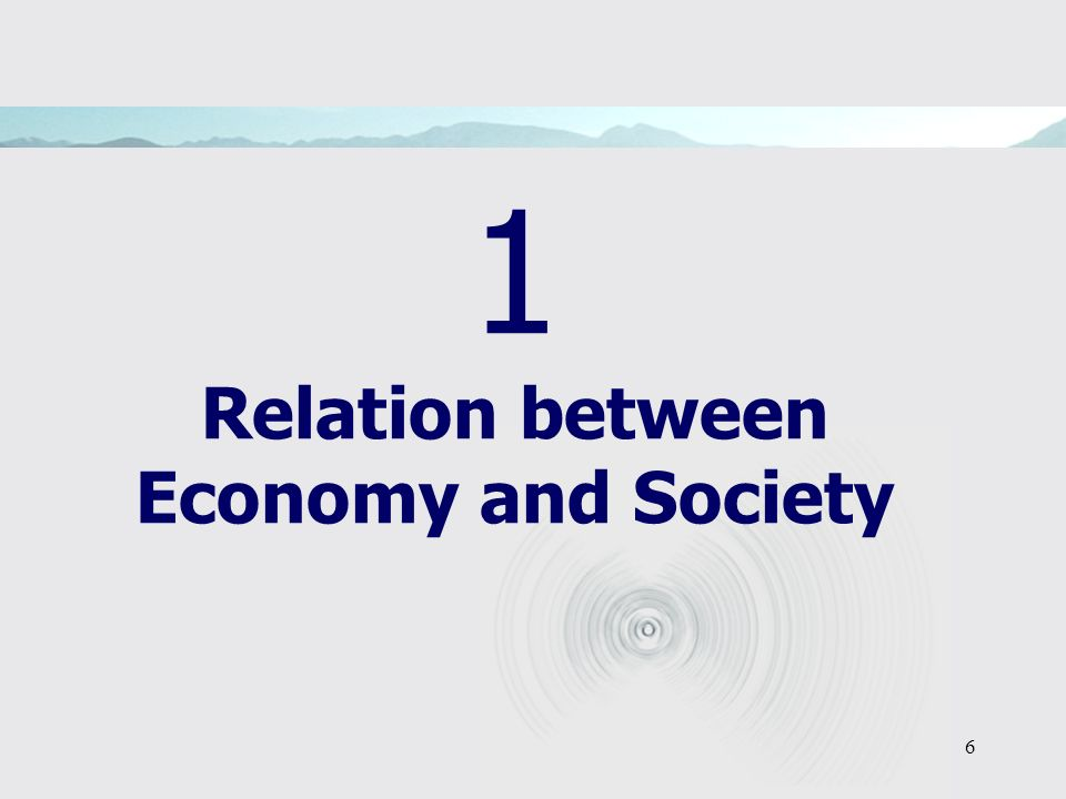 6 1 Relation between Economy and Society