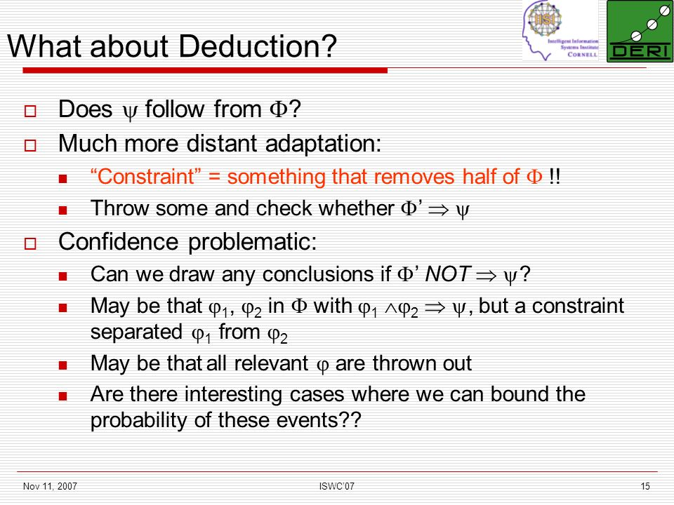 Nov 11, 2007ISWC0715 What about Deduction. Does follow from .