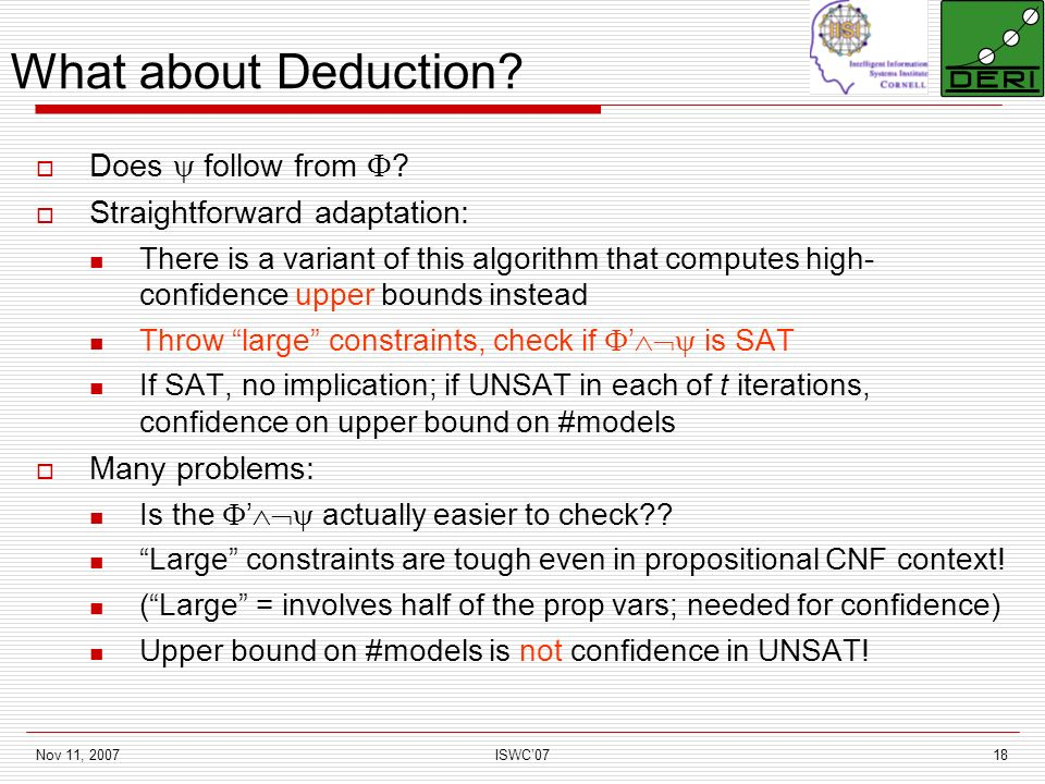 Nov 11, 2007ISWC0718 What about Deduction. Does follow from .