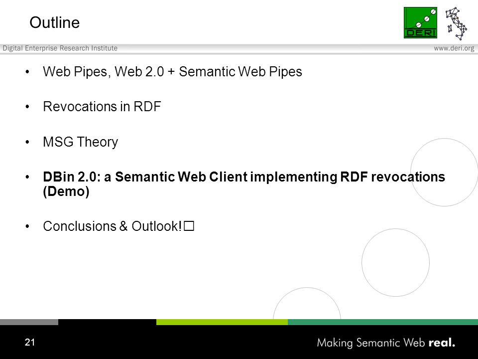 21 Outline Web Pipes, Web 2.0 + Semantic Web Pipes Revocations in RDF MSG Theory DBin 2.0: a Semantic Web Client implementing RDF revocations (Demo) Conclusions & Outlook!
