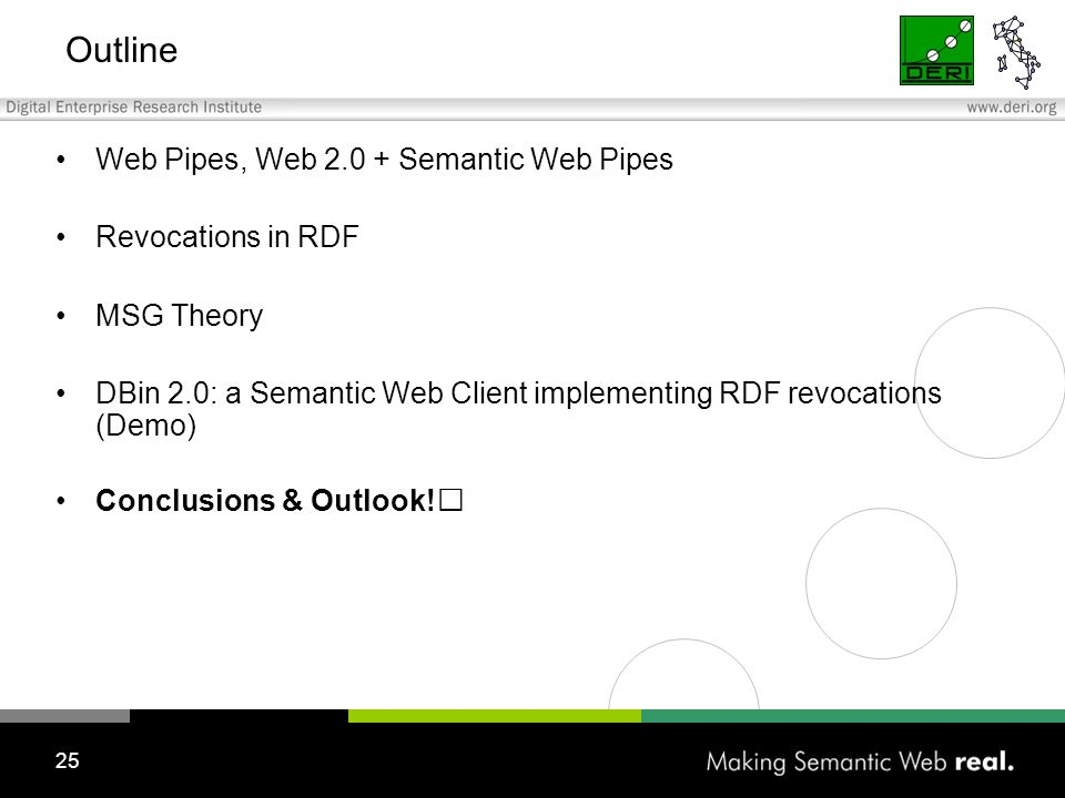 25 Outline Web Pipes, Web 2.0 + Semantic Web Pipes Revocations in RDF MSG Theory DBin 2.0: a Semantic Web Client implementing RDF revocations (Demo) Conclusions & Outlook!