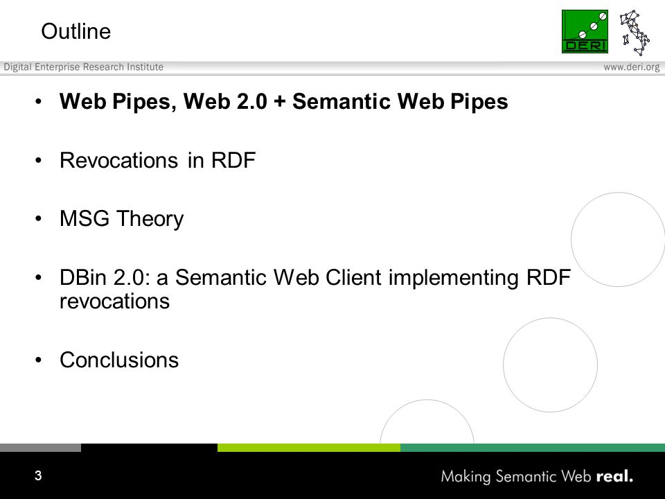 3 Outline Web Pipes, Web 2.0 + Semantic Web Pipes Revocations in RDF MSG Theory DBin 2.0: a Semantic Web Client implementing RDF revocations Conclusions