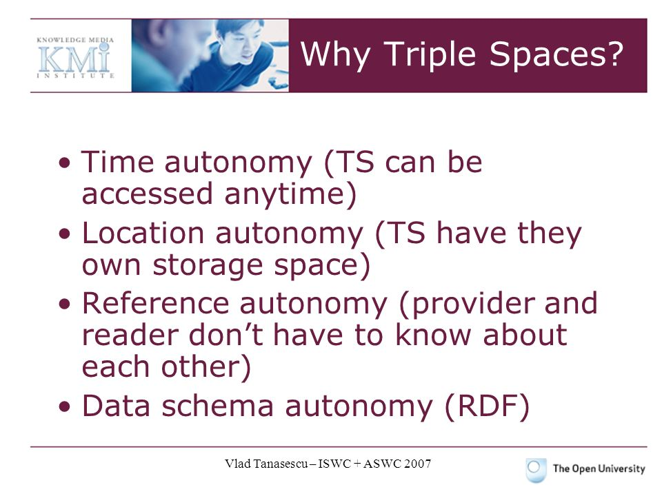 Vlad Tanasescu – ISWC + ASWC 2007 Why Triple Spaces.