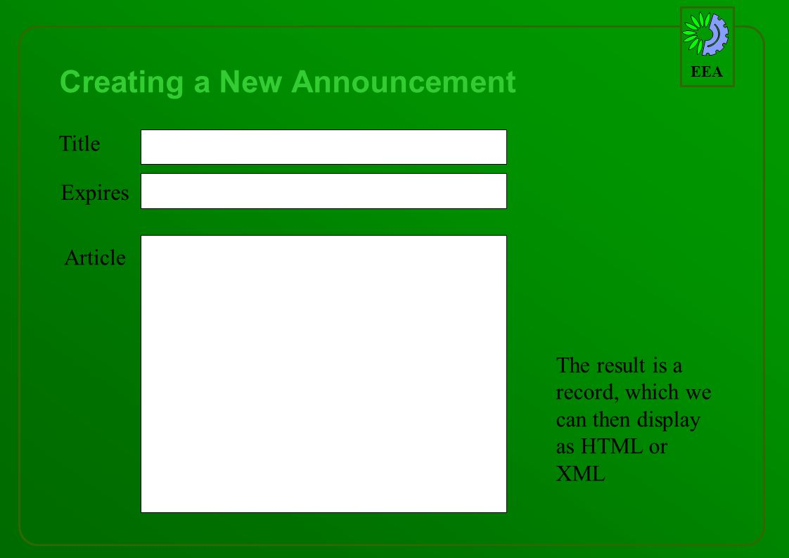 EEA Creating a New Announcement Title Expires Article The result is a record, which we can then display as HTML or XML