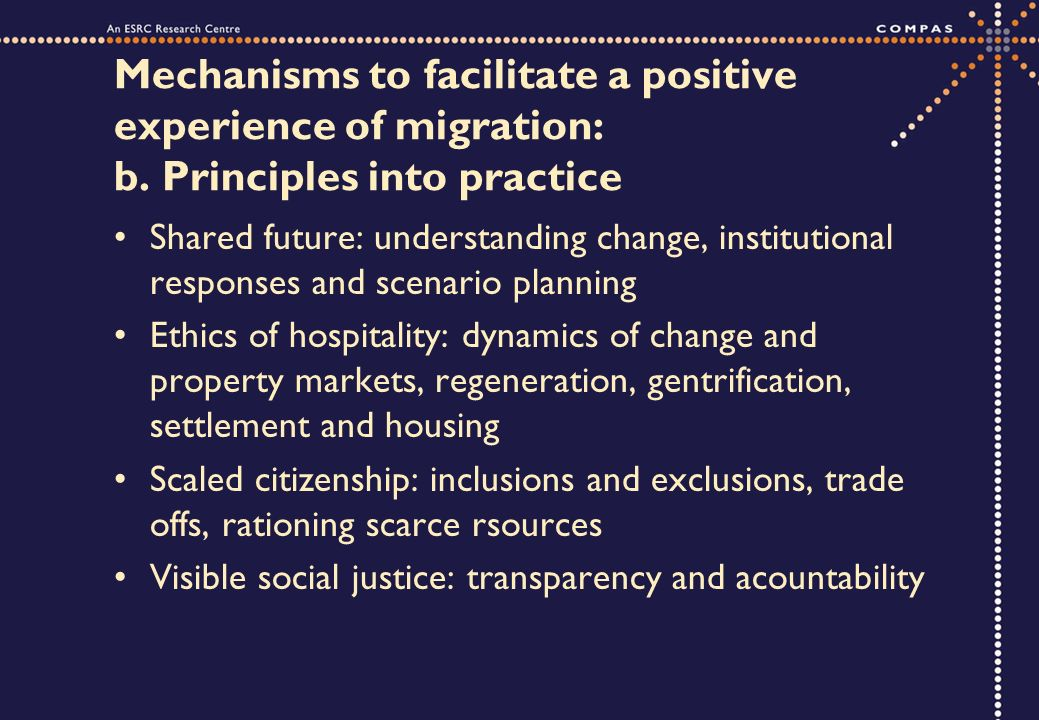 Mechanisms to facilitate a positive experience of migration: b.
