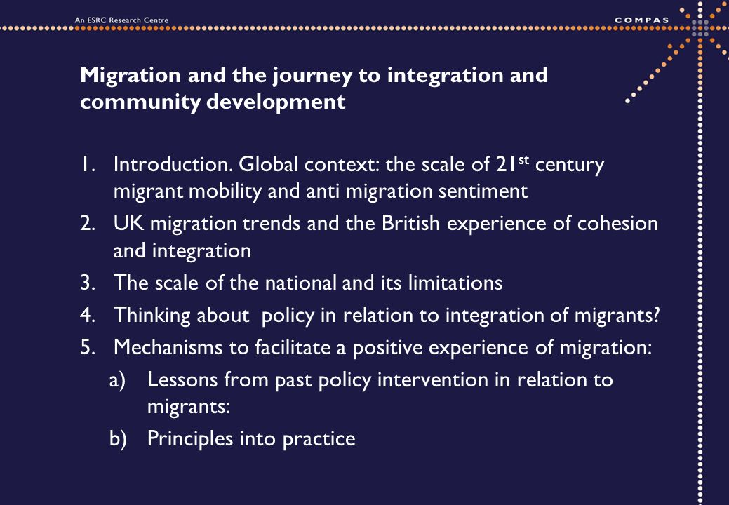 Migration and the journey to integration and community development 1.Introduction.