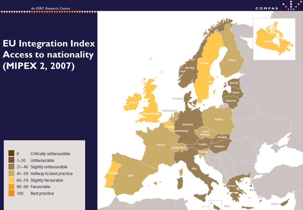 EU Integration Index Access to nationality (MIPEX 2, 2007)