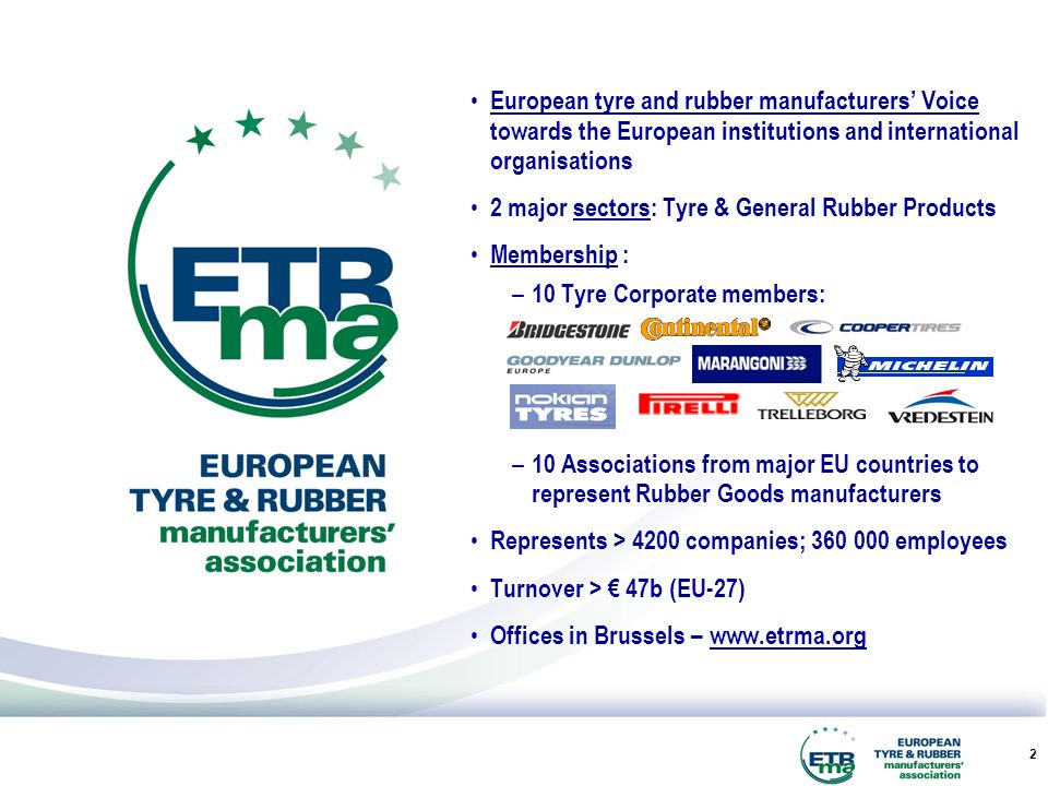 2 European tyre and rubber manufacturers Voice towards the European institutions and international organisations 2 major sectors: Tyre & General Rubber Products Membership : – 10 Tyre Corporate members: – 10 Associations from major EU countries to represent Rubber Goods manufacturers Represents > 4200 companies; 360 000 employees Turnover > 47b (EU-27) Offices in Brussels – www.etrma.org
