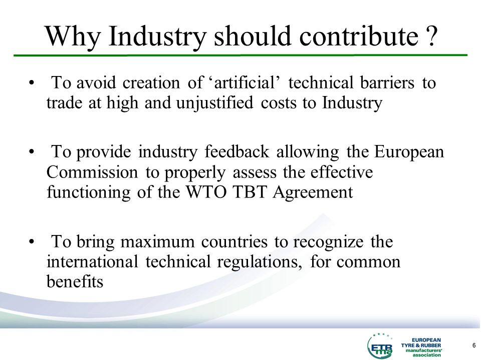 6 Why Industry should contribute .