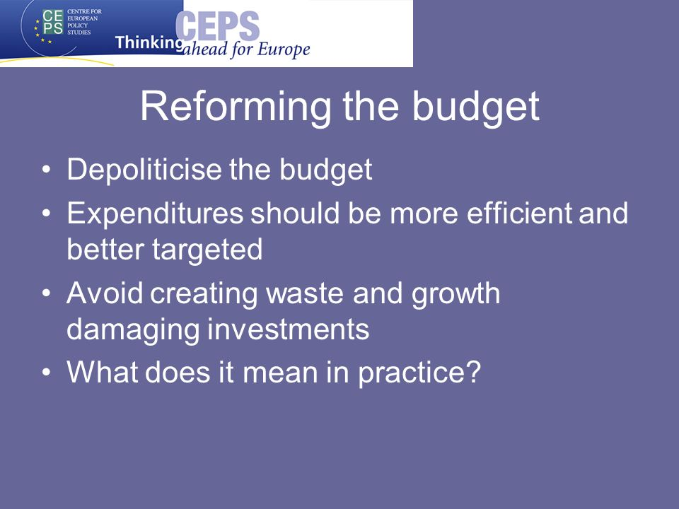 Reforming the budget Depoliticise the budget Expenditures should be more efficient and better targeted Avoid creating waste and growth damaging investments What does it mean in practice