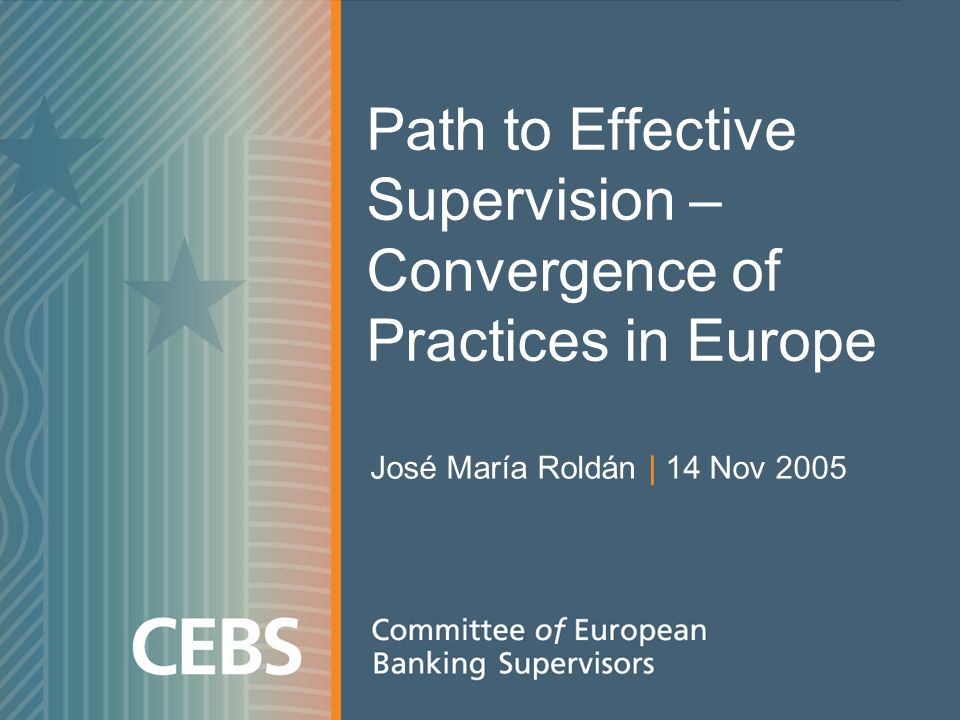 Path to Effective Supervision – Convergence of Practices in Europe José María Roldán | 14 Nov 2005