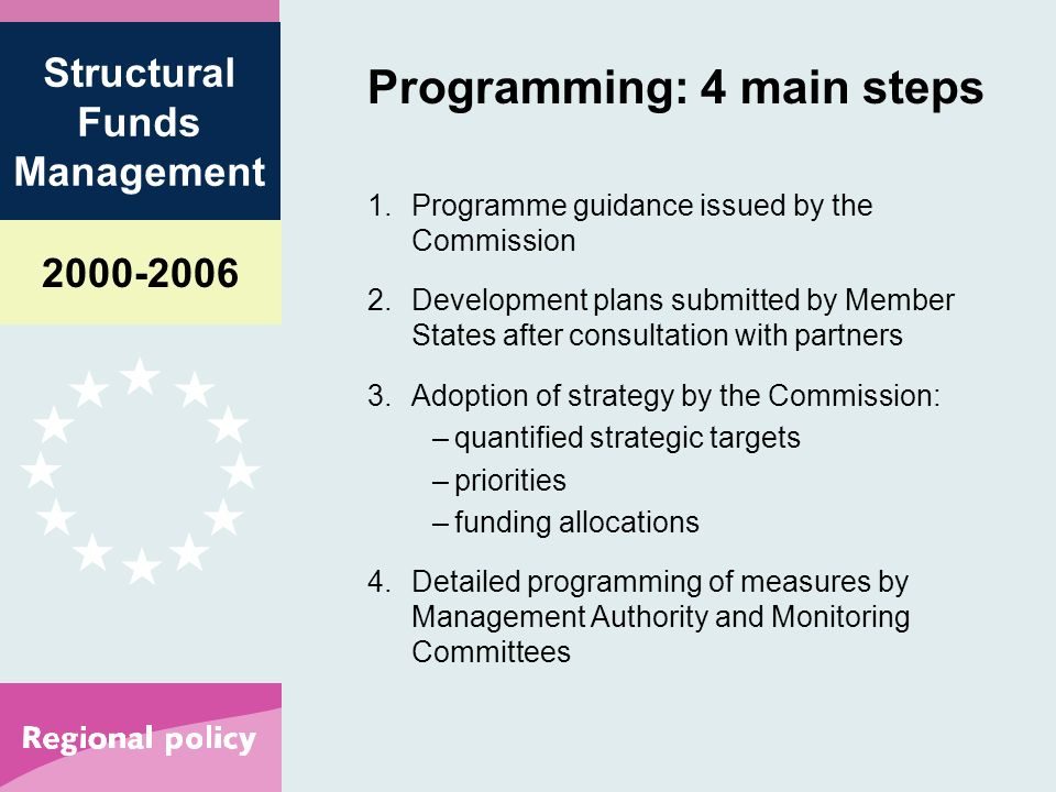 Structural Funds Management Programming: 4 main steps 1.Programme guidance issued by the Commission 2.Development plans submitted by Member States after consultation with partners 3.Adoption of strategy by the Commission: –quantified strategic targets –priorities –funding allocations 4.Detailed programming of measures by Management Authority and Monitoring Committees