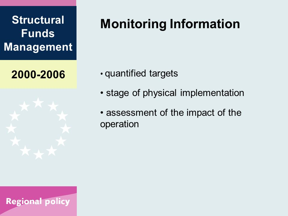 Structural Funds Management Monitoring Information quantified targets stage of physical implementation assessment of the impact of the operation