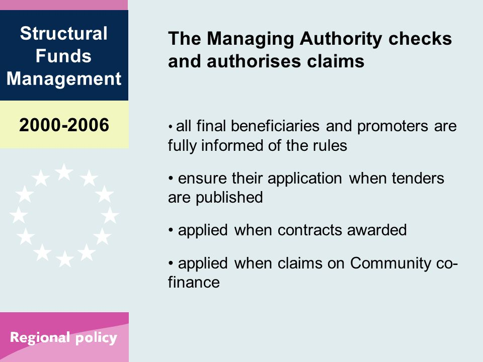 Structural Funds Management The Managing Authority checks and authorises claims all final beneficiaries and promoters are fully informed of the rules ensure their application when tenders are published applied when contracts awarded applied when claims on Community co- finance