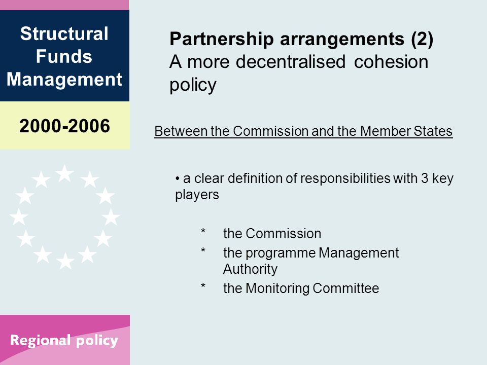 Structural Funds Management Partnership arrangements (2) A more decentralised cohesion policy Between the Commission and the Member States a clear definition of responsibilities with 3 key players *the Commission *the programme Management Authority *the Monitoring Committee